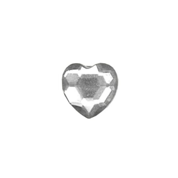 Clear - Self Adhesive Heart Diamante - 48pk