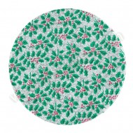 "Holly Design, Silver - 8"" Round Cake Board"