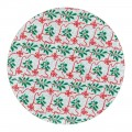"""Holly & Red Ribbon Design, Silver - 10"""" Round Cake Board"""
