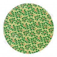 "Holly Design, Gold - 10"" Round Cake Board"