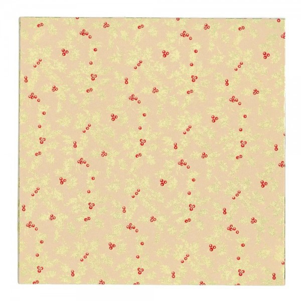 "Gold Holly Design, Beige - 10"" Square Cake Board"