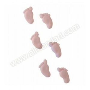 Piped Sugar Feet - 12 piece - Pink