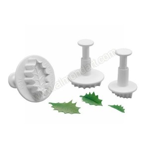 Veined Holly Leaf Plunger Cutters - Set Of 3