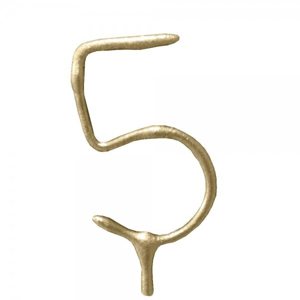 Gold Number '5' Sparkling Candle