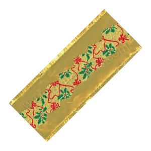 Gold Holly Christmas Design Foil Cake Frill