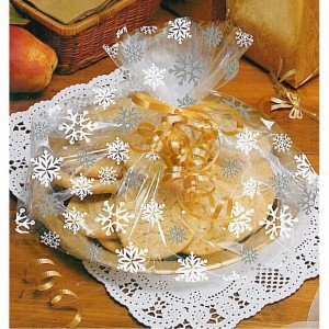 Snowflake Design Cellophane Basket/Plate Bags - Pack of 6