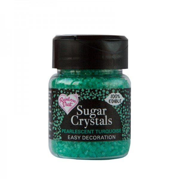 Pearlescent Turquoise Sparkling Sugar Crystals - 50g