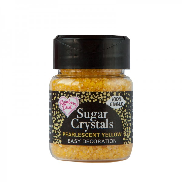 Pearlescent Yellow Sparkling Sugar Crystals - 50g