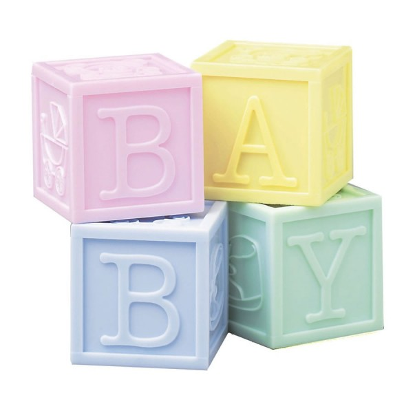Baby Building Blocks Cake Toppers - 4pc