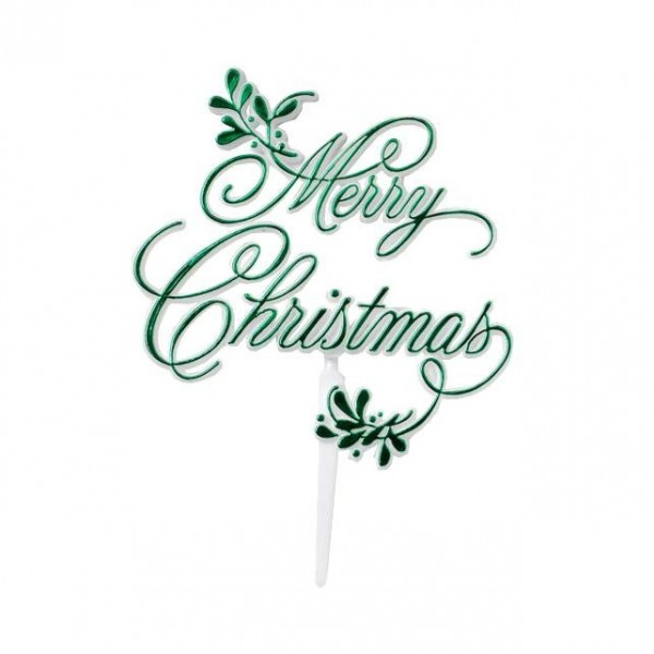 """Merry Christmas"" Green Mistletoe Motto"