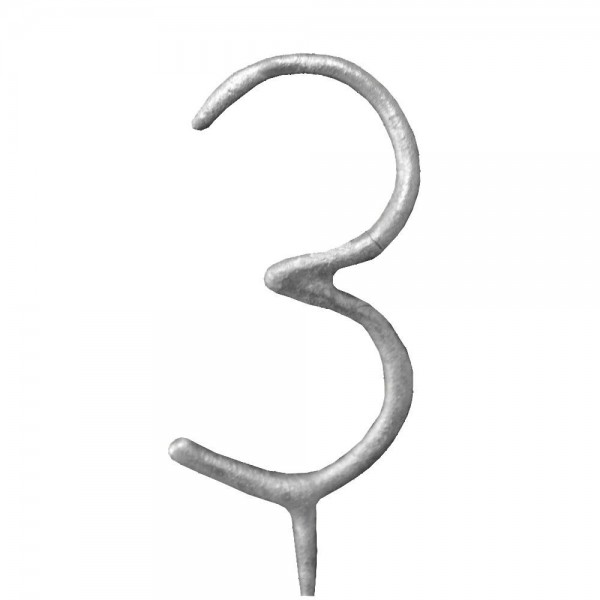 Silver Number '3' Sparkling Candle