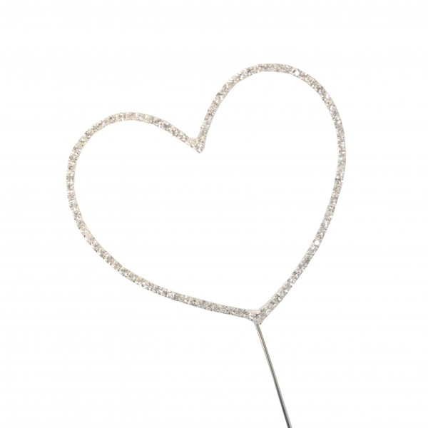 Large 10cm Heart Diamante Pick