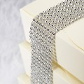 Plastic Silver Diamante Effect 8 Row Band 1.5mtr