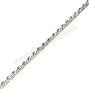 Plastic Silver Diamante Effect 1 Row Band - 9mtr