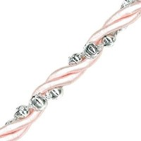 Pink Rope with Silver Beads - 1 Metre