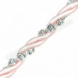 Pink Rope with Silver Beads - 10m Roll
