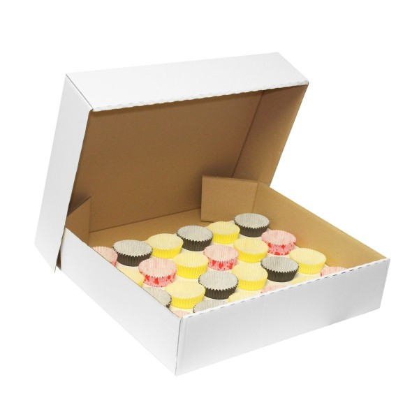 "4"" Deep Large Corrugated Cupcake Box With Insert - Holds 24"
