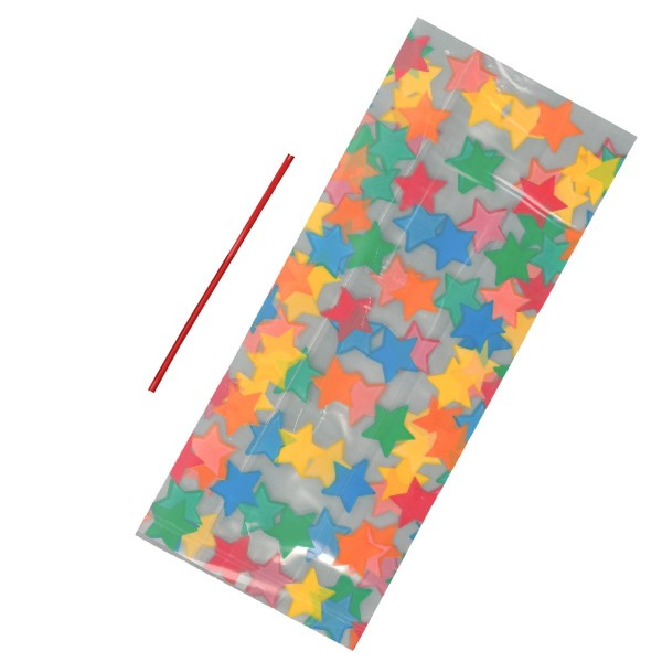 20 Multi Coloured Star Cello Bags With Ties - 125mm x 285mm