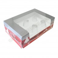 Silver & Red Christmas Design 6 Cupcake Box & Insert