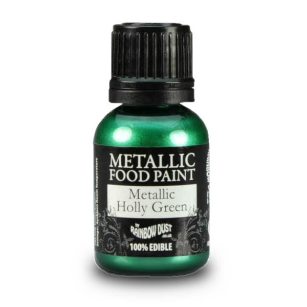Metallic Holly Green - Metallic Food Paint - 25ml