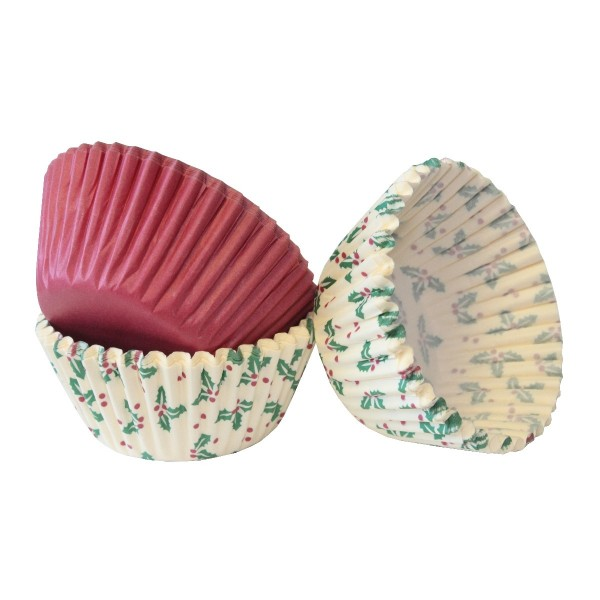 Christmas Holly & Plain Cupcake Cases - 75pk