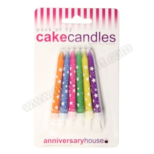 Multicoloured Star Candles With Holders - 12pk