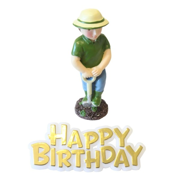 Gardener Resin Topper & Happy Birthday Motto