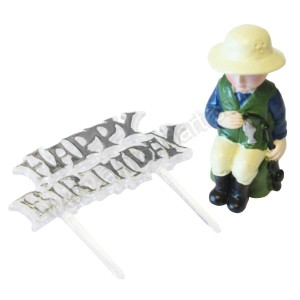 Fisherman Resin Topper & Happy Birthday Motto