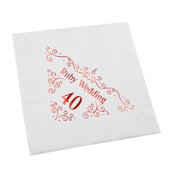 40th Wedding Anniversary Napkin - 3 ply - 15pk