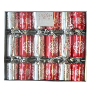 Silver & Red Mini Christmas Crackers - 6pk