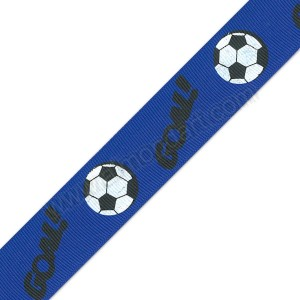 Royal Blue Football Printed Ribbon 25mm x 1m