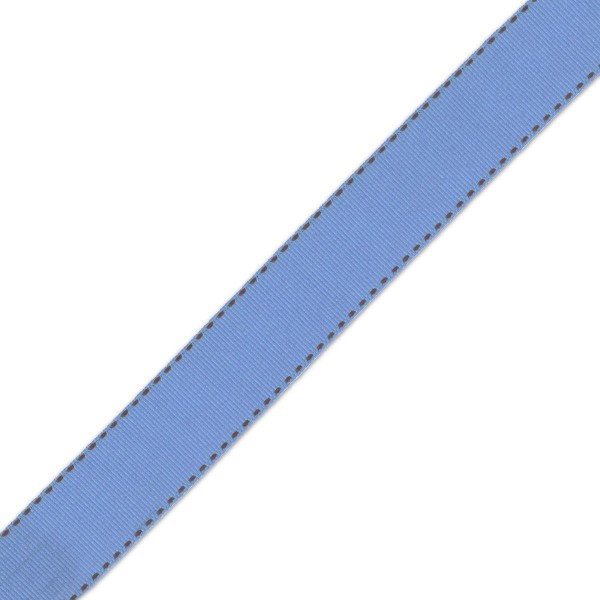 Blue & Brown Grosgrain Side Stitch 25mm x 1m