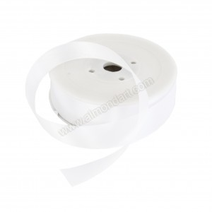 25mm White Double Sided Satin Ribbon - 25m Roll