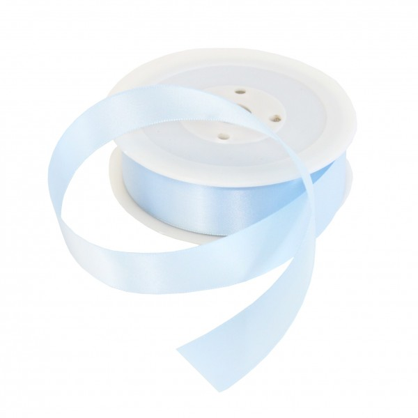 25mm Baby Blue Double Sided Satin Ribbon - 25m Roll