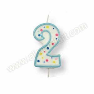 Blue Number '2' Candle