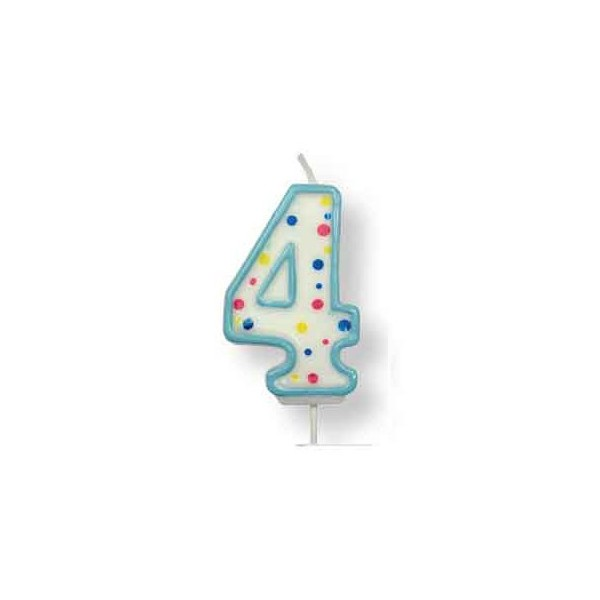 Blue Number '4' Candle