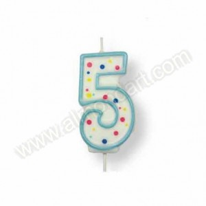 Blue Number '5' Candle