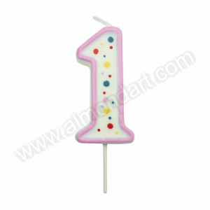 Pink Number '1' Candle
