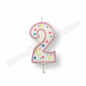 Pink Number '2' Candle
