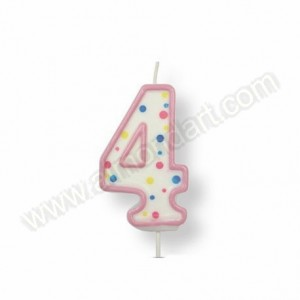 Pink Number '4' Candle