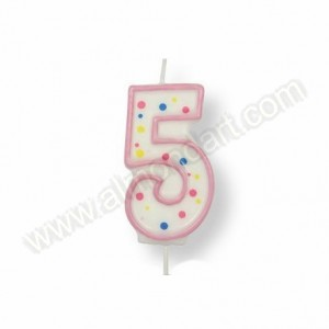 Pink Number '5' Candle