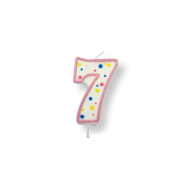 Pink Number '7' Candle