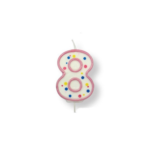 Pink Number '8' Candle