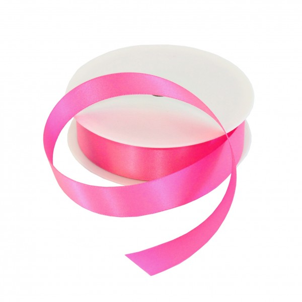 25mm Fuchsia Double Sided Satin Ribbon - 25m Roll