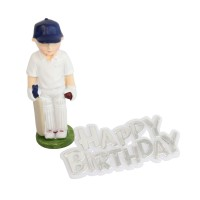 Cricketer Resin Topper & Happy Birthday Motto