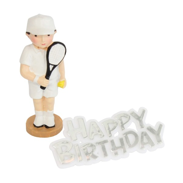 Tennis Player Resin Topper & Happy Birthday Motto