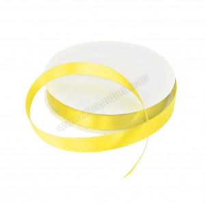 15mm Pale Yellow Double Sided Satin Ribbon - 25m Roll
