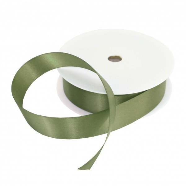 25mm Olive Green Double Sided Satin Ribbon - 25m Roll