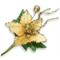 Gold Glitter Poinsettia Spray