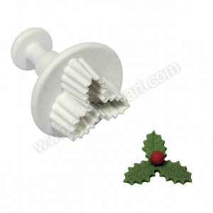 Veined Three Leaf Holly Plunger Cutter - Small